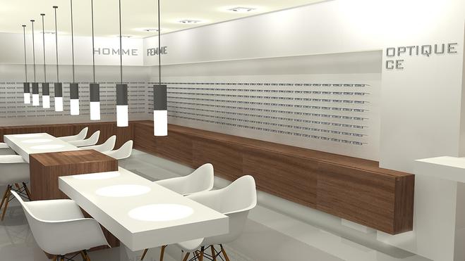 Théo Vynckier - Vue interieure d'un magasin optique en 3D image de synthèse