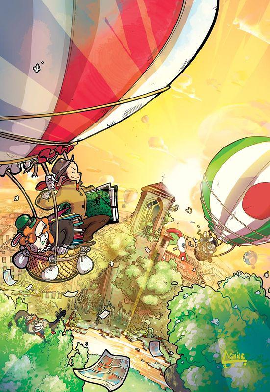 Achile - illustration montgolfières pour festival BD