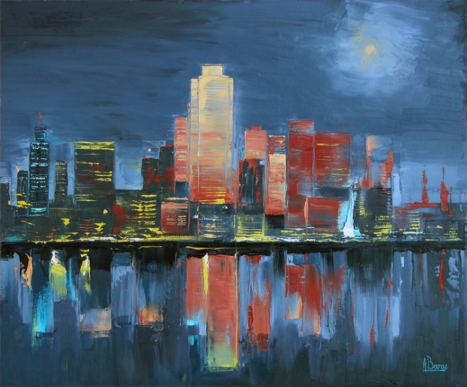 night manhattan 46x55 de alain baras artiste peintre peinture l 39 huile figuratif tableau. Black Bedroom Furniture Sets. Home Design Ideas