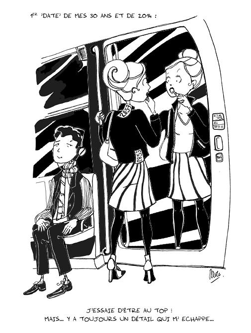 Alice Laverty - Illustration femme qui se maquille dans le metro