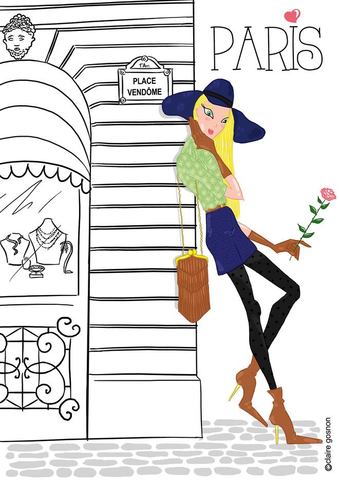 Parisienne adoss e contre une vitrine de bijoux place - Dessin parisienne ...