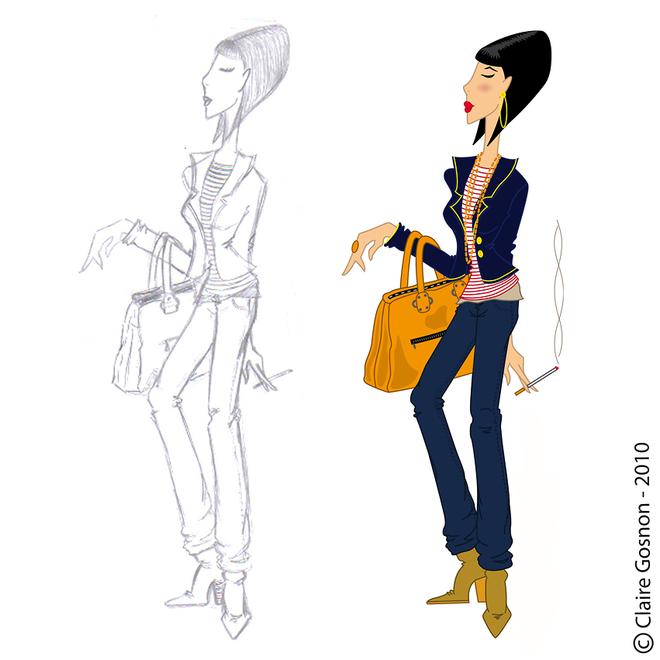 femme chic qui fume avec son sac main sur le bras de claire gosnon illustrateur affiche. Black Bedroom Furniture Sets. Home Design Ideas