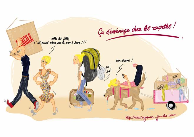 Assez famille qui déménage, sacs à dos, valises et cartons de Claire  NE27