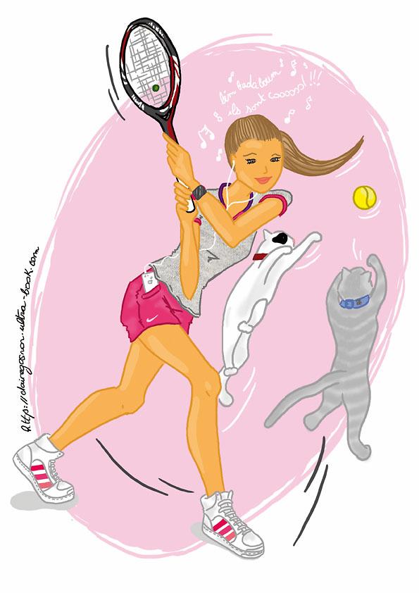 Jeune Fille Qui Fait Du Tennis Avec Ses Chats De Claire Gosnon