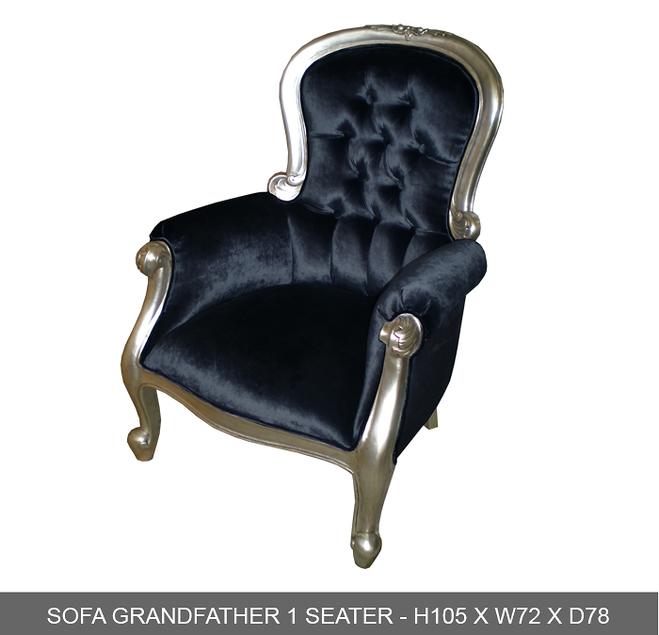 Fauteuil baroque en bois argent et velours noir de 126 for Location mobilier exterieur