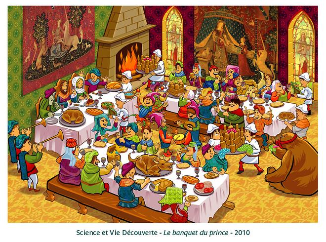 Banquet moyen ge ours f te m dievale de kilia illustrateur infographie jeunesse - Dessins moyen age ...