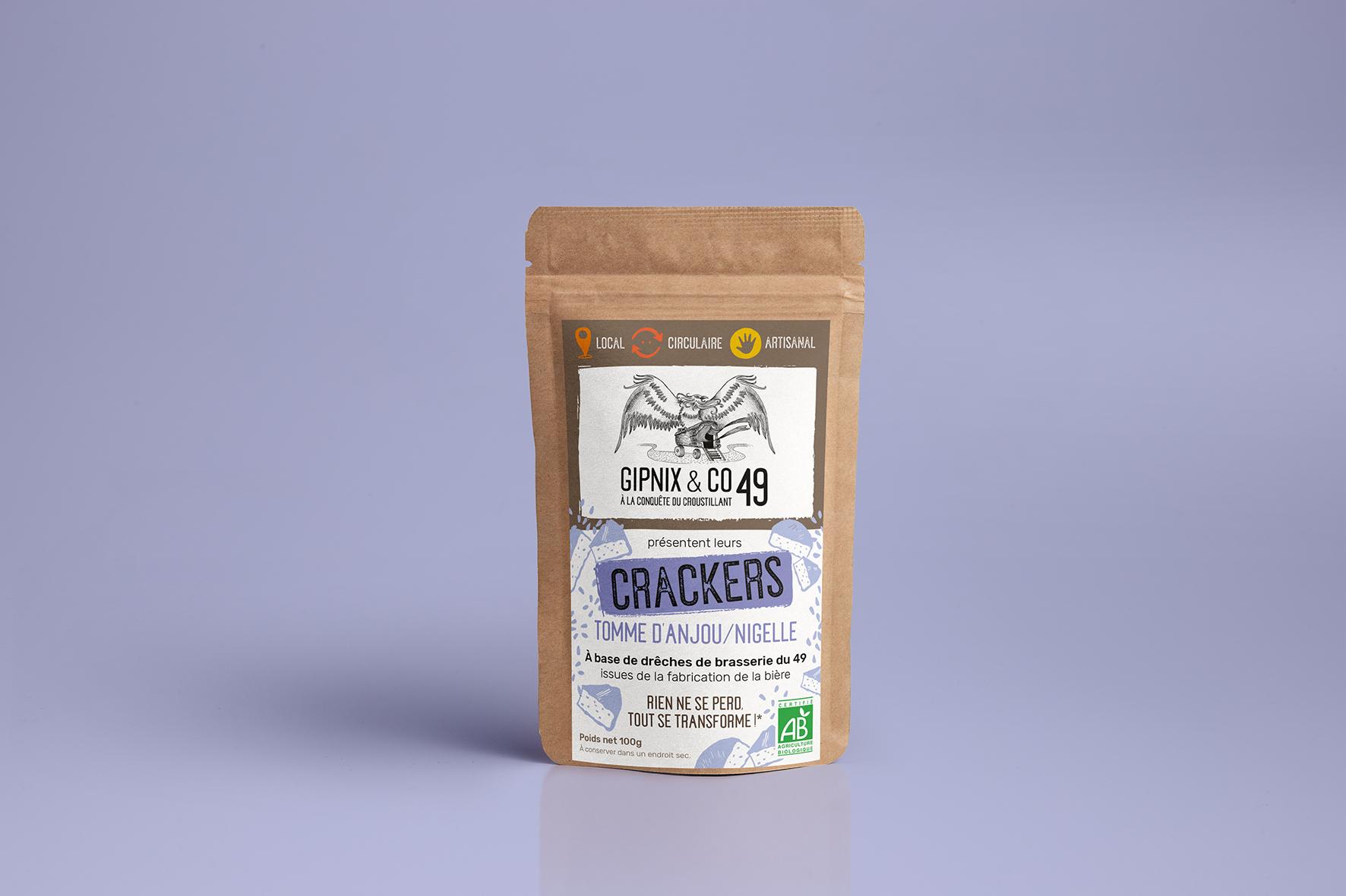 Magali AC graphisme - Étiquette crackers Bio illustrateur graphiste Angers
